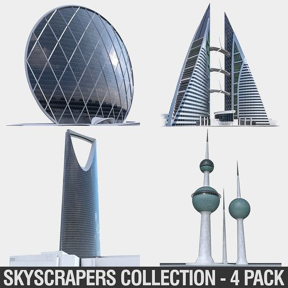 Gulf Buildings Set - 4 Pack - 3DOcean Item for Sale