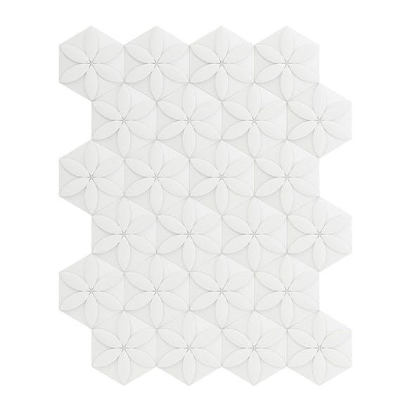 White Flower Decor Wall Panel 3D Model - 3DOcean Item for Sale