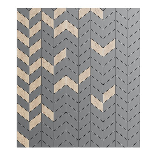 Modern Wood and Black Wall Panel 3D Model
