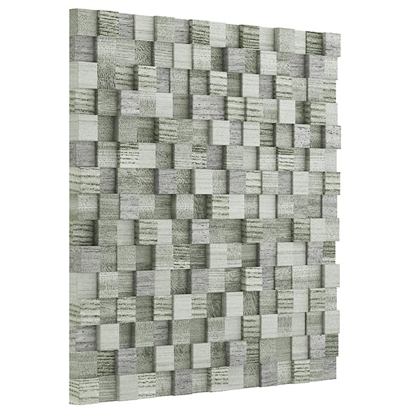 Green Wooden Blocks Wall Panel 3D Model - 3DOcean Item for Sale