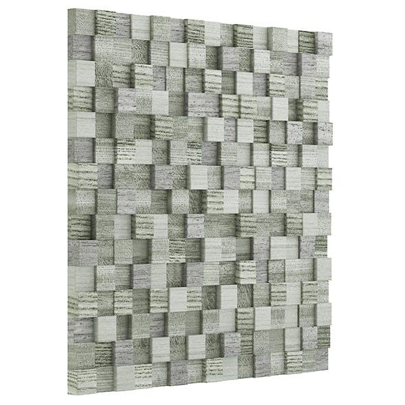 Green Wooden Blocks Wall Panel 3D Model