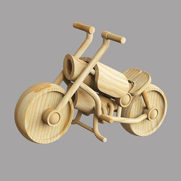 Wooden toy motorbike