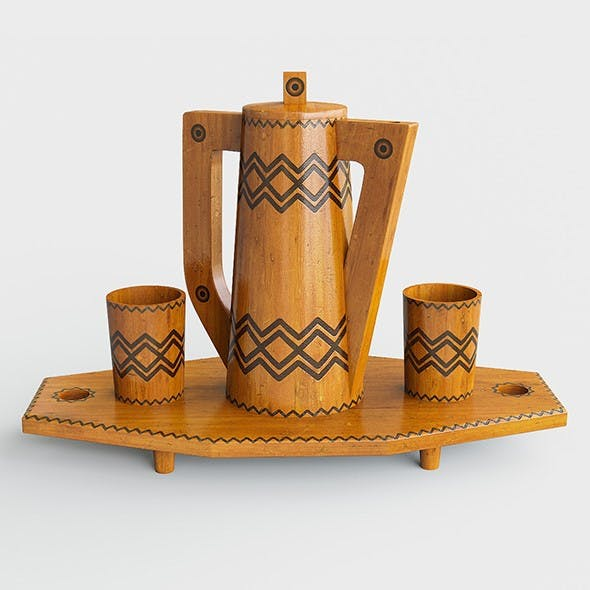 Wooden tray with jug and glasses