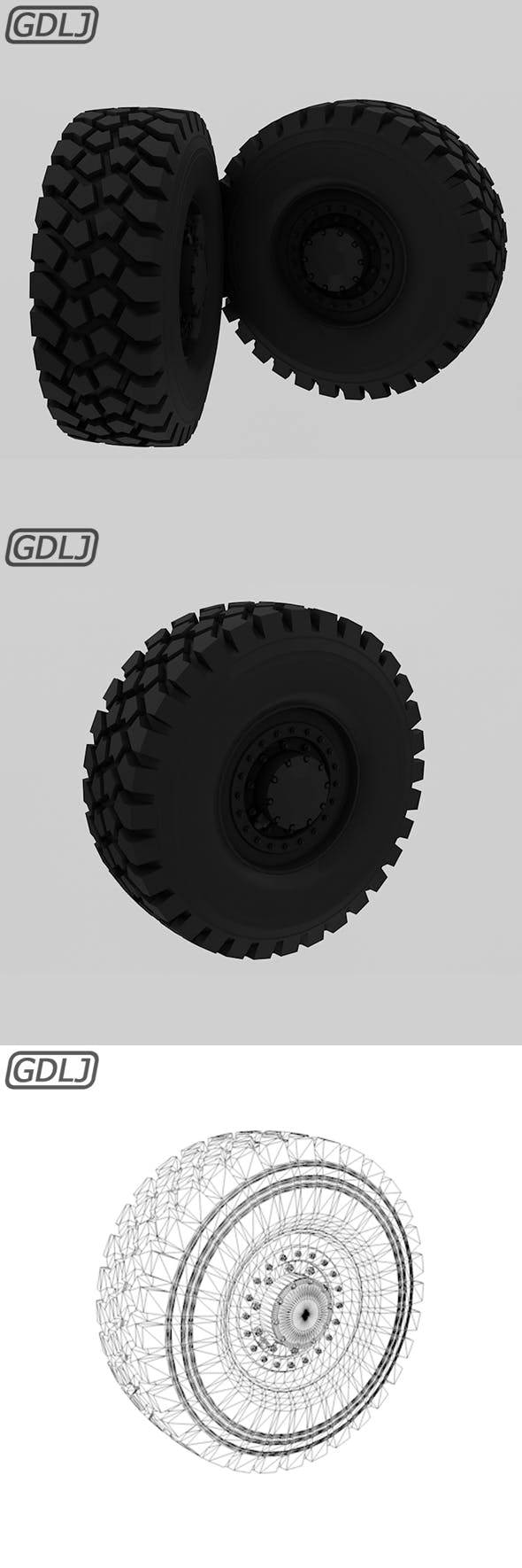 Off-road wheel Tire - 3DOcean Item for Sale