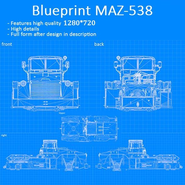 Blueprint Car - MAZ-538 - 3DOcean Item for Sale