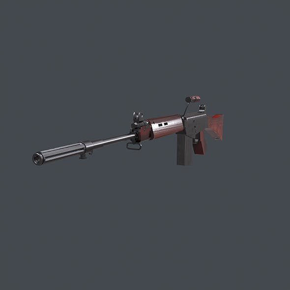 Low Poly L1A1 Self-Loading Rifle - 3DOcean Item for Sale