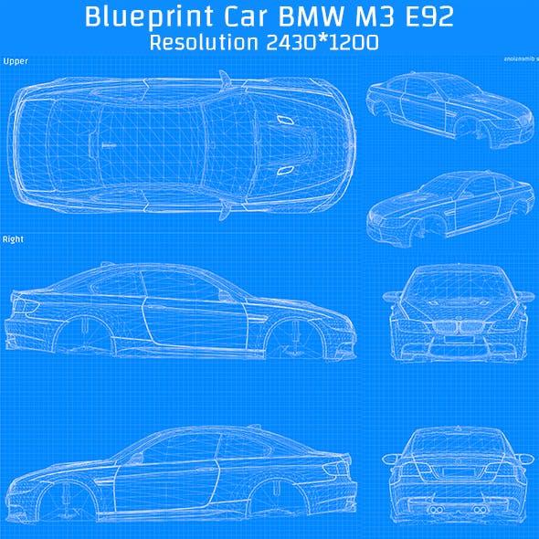 Blueprint Car - BMW M3 E92 - 3DOcean Item for Sale