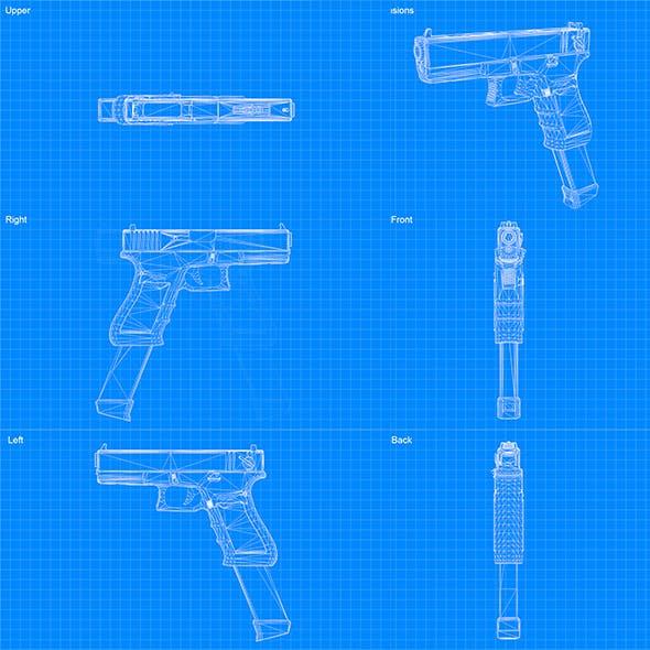 Blueprint - Glock G18 - 3DOcean Item for Sale
