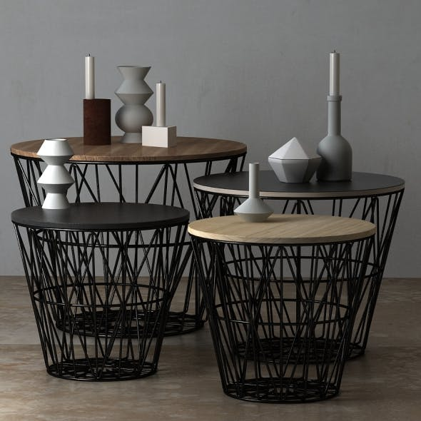 Wire Baskets & Side Tables by Ferm Living - Black