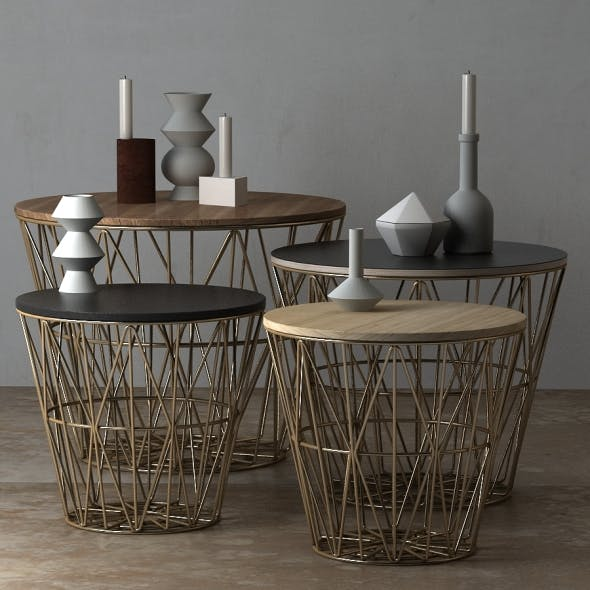 Wire Baskets & Side Tables by Ferm Living - Brass - 3DOcean Item for Sale