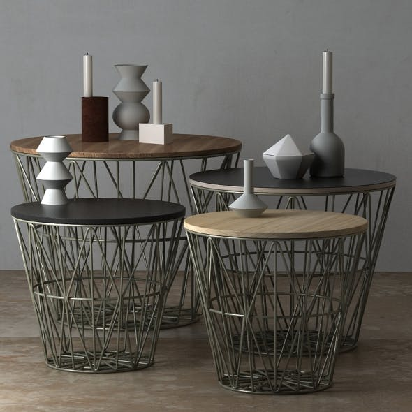 Wire Baskets & Side Tables by Ferm Living - Dusty green