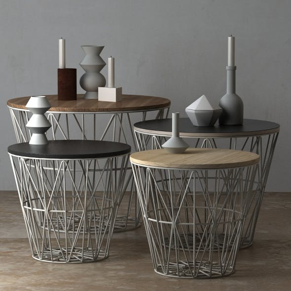 Wire Baskets & Side Tables by Ferm Living - Light grey