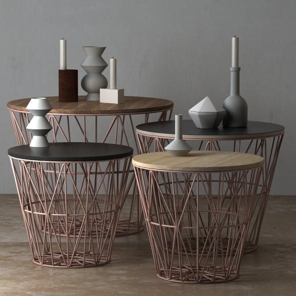 Wire Baskets & Side Tables by Ferm Living - Rose - 3DOcean Item for Sale