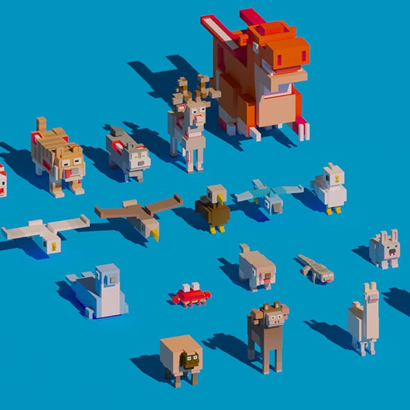 Low Poly Amimals Pack - Cartoon Crossy Road - 3DOcean Item for Sale