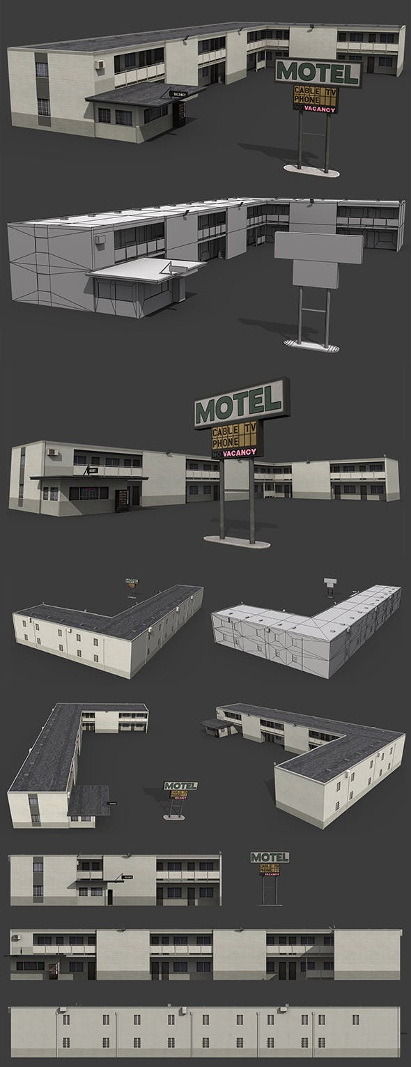 Motel Building - 3DOcean Item for Sale