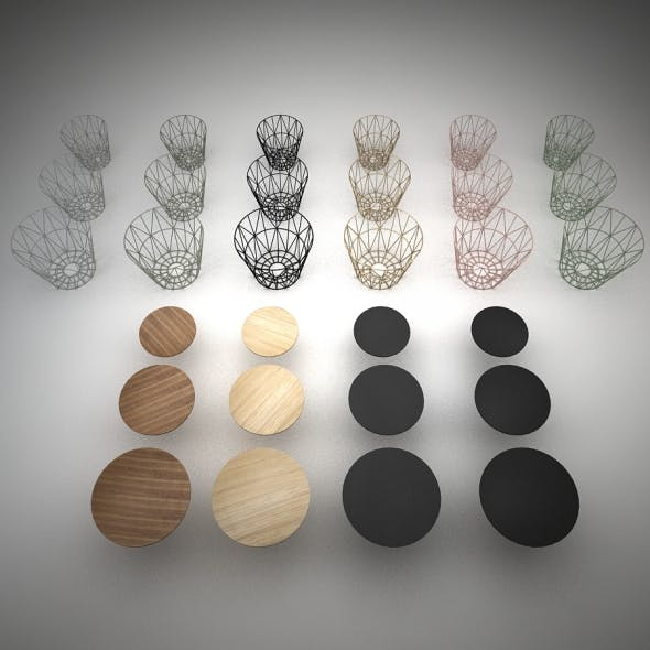 PACK: Wire Baskets & Side Tables by Ferm Living - 3DOcean Item for Sale