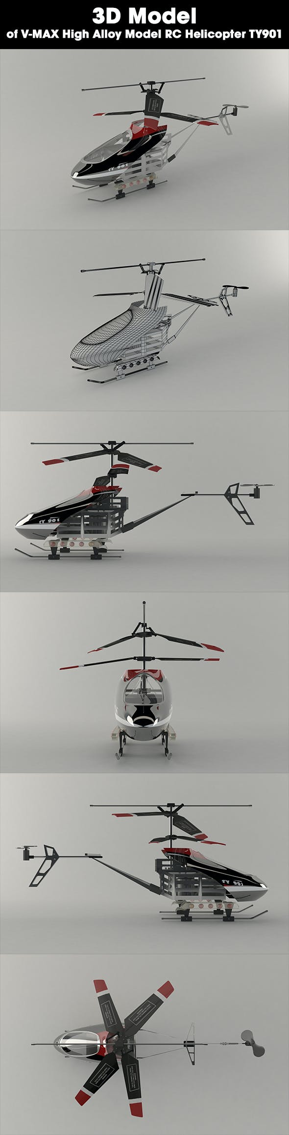Helicopter - V-MAX High Alloy Model RC Helicopter TY901 - 3DOcean Item for Sale