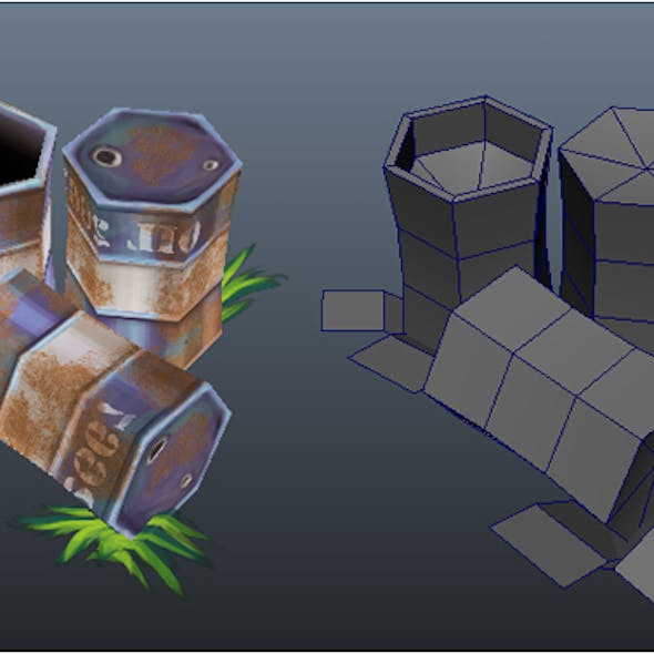 Low Poly Barrels