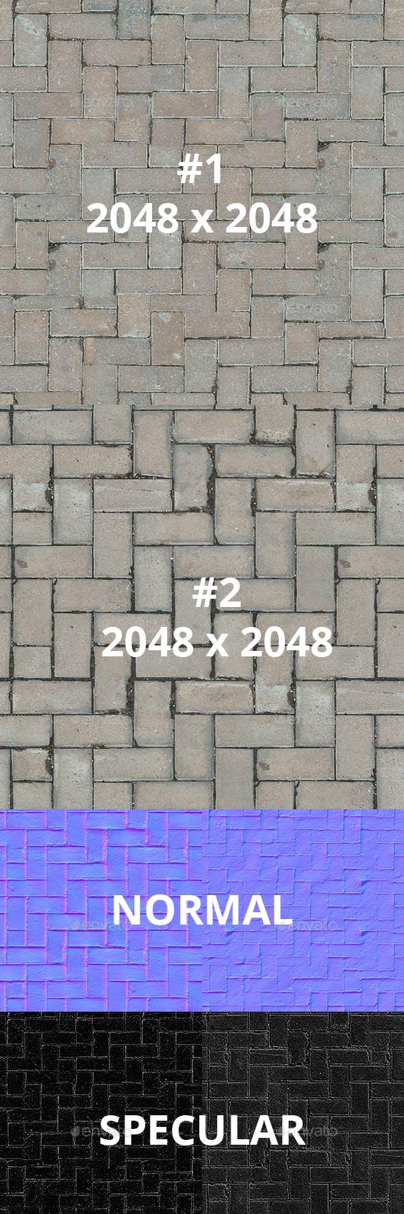 Herringbone Street Tiles Pack - 3DOcean Item for Sale