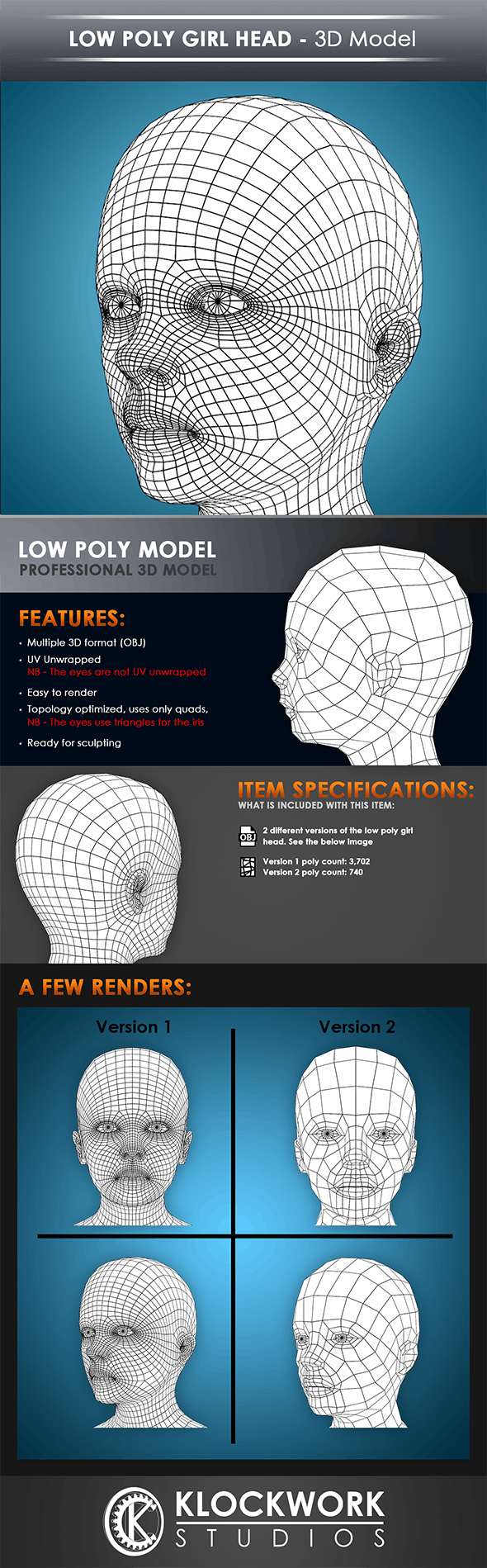 low poly girl head base mesh - 3DOcean Item for Sale
