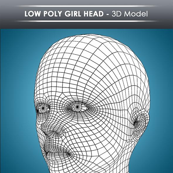 low poly girl head base mesh