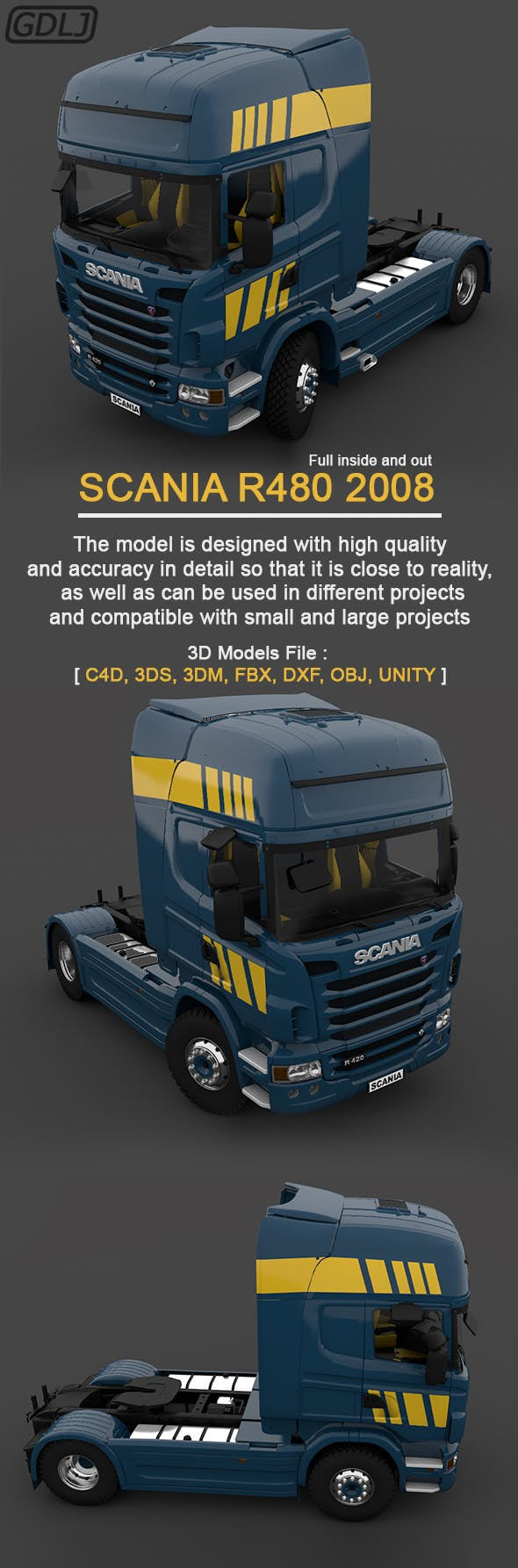 Scania R480 2008 3D Model - 3DOcean Item for Sale