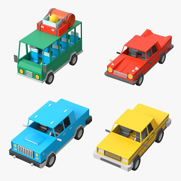 Cartoon Cars Low Poly Set