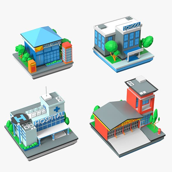 Cartoon Public Buildings Low Poly Set