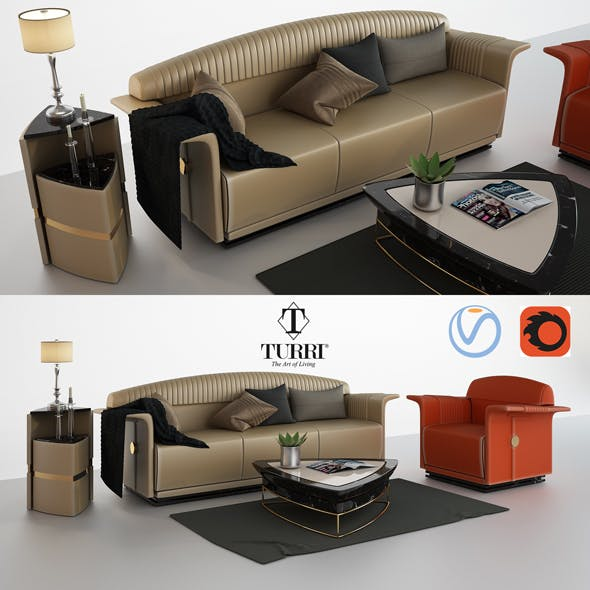 Turri Madison sofa armchair and coffee table - 3DOcean Item for Sale
