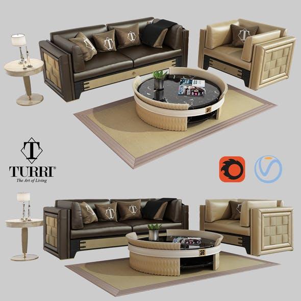 Turri NumeroTre sofa armchair and coffee table model - 3DOcean Item for Sale