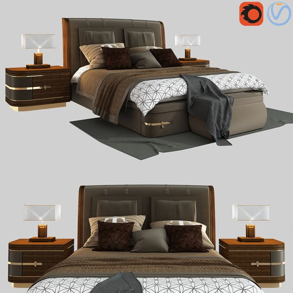 Diamond bed by Turri model - 3DOcean Item for Sale