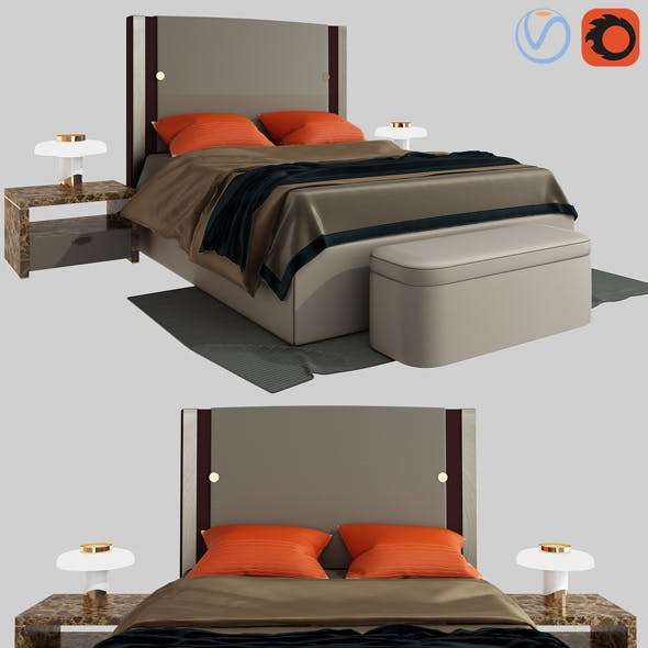 Plaza bed by Turri 3D
