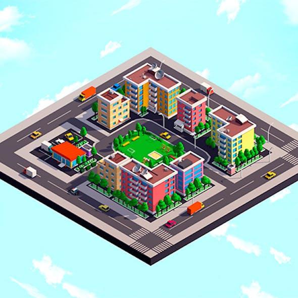 Cartoon Low Poly City Block 1