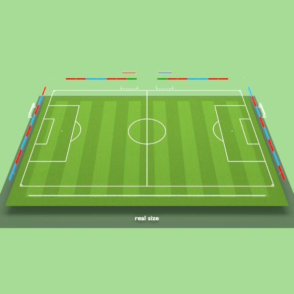 Football soccer field, markup, gates, shelters for the bench, chairs, billboard