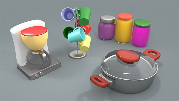 Cartoon style kitchen assets - 3DOcean Item for Sale