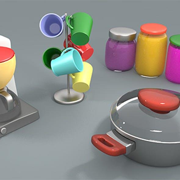 Cartoon style kitchen assets