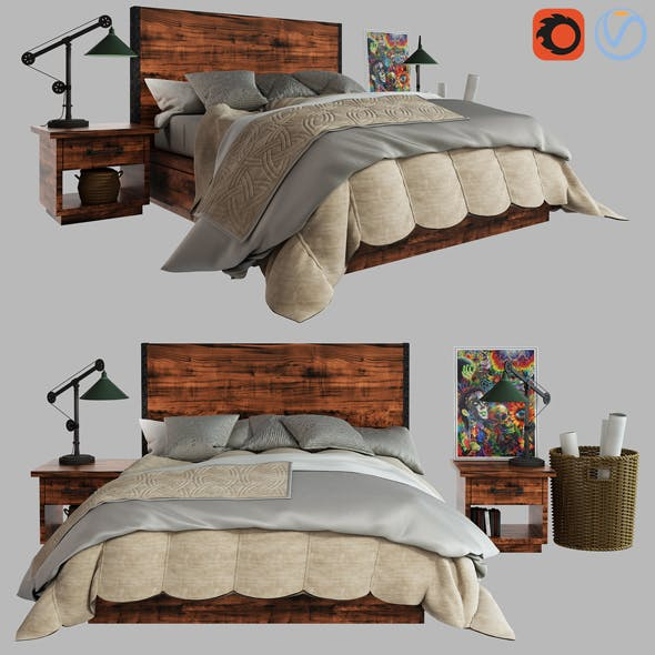 3d Antiques Reclaimed Wood Storage Bed