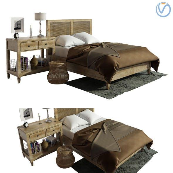 Pottery barn Sausalito Selena Bedroom 3в model - 3DOcean Item for Sale