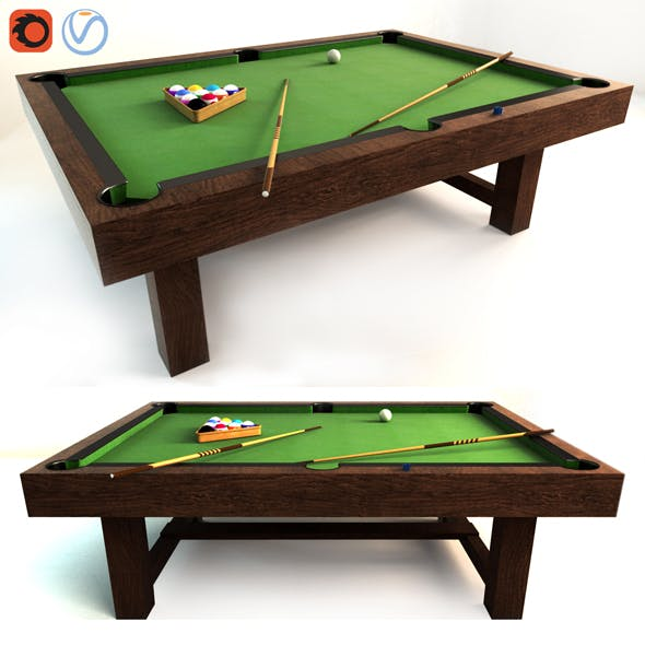 Pottery Barn Pool Table - Gray Wash 3d model