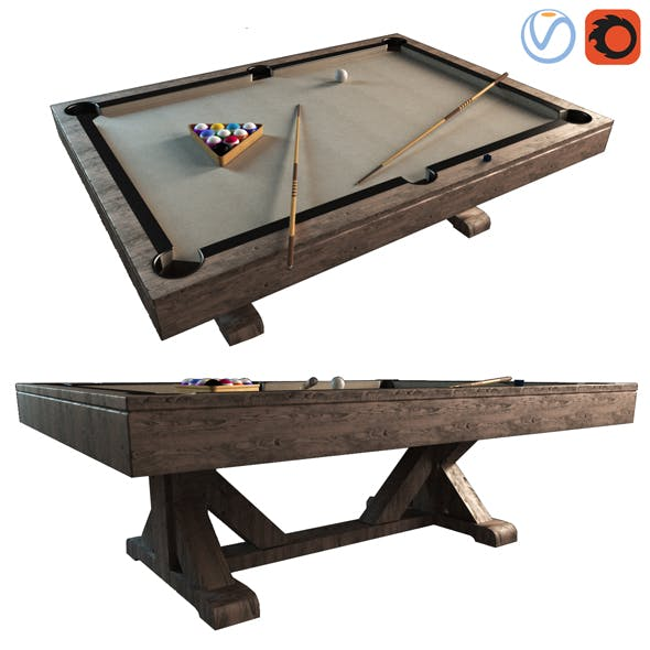 3d Pottery Barn Charleston Pool Table model - 3DOcean Item for Sale
