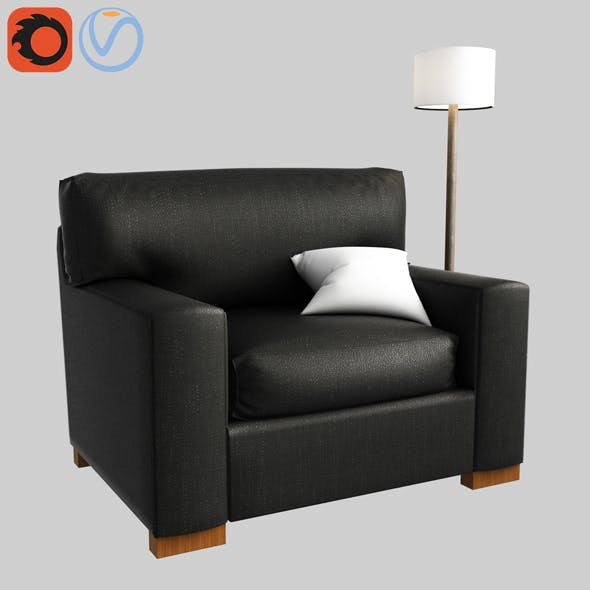 3d model PB Comfort Square Arm Upholstered Twin Armchair Sleeper With Memory Foam Mattress