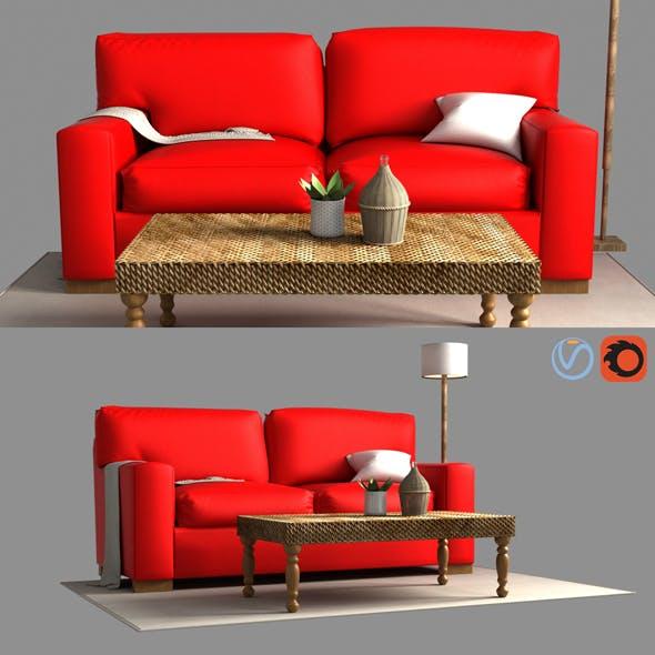 3d Pb Comfort Square Arm Upholstered Sofa model - 3DOcean Item for Sale