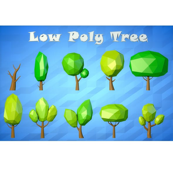 Low Poly Cartoon Tree asset - 3DOcean Item for Sale