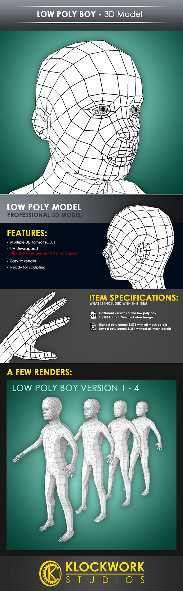 Low Poly Boy Base Mesh - 3DOcean Item for Sale