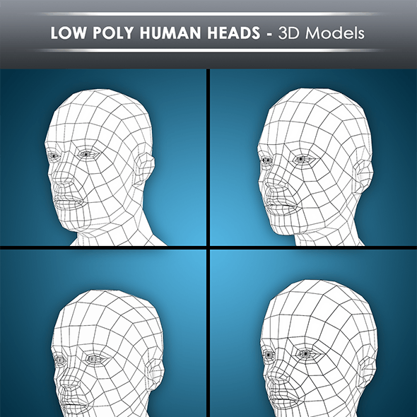 low poly human heads