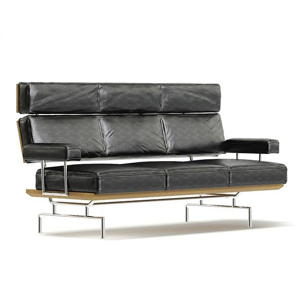 Rectangular Black Sofa 3D Model
