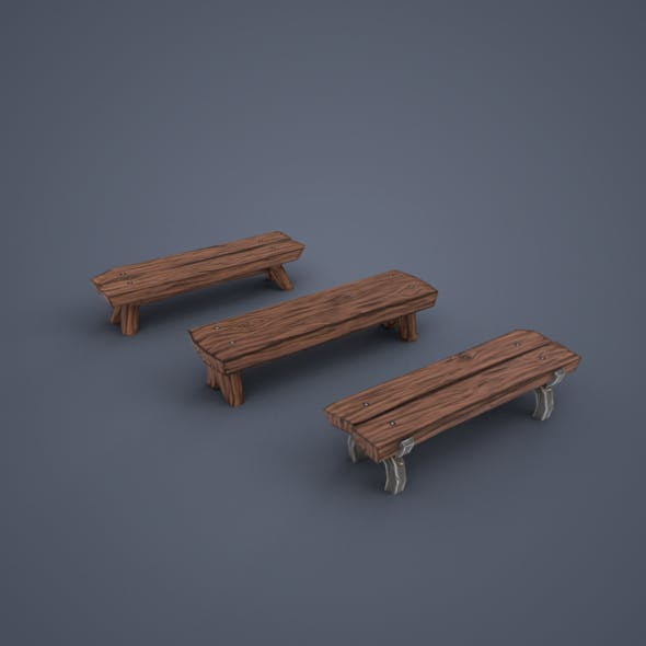 Wooden benches (low poly) - 3DOcean Item for Sale