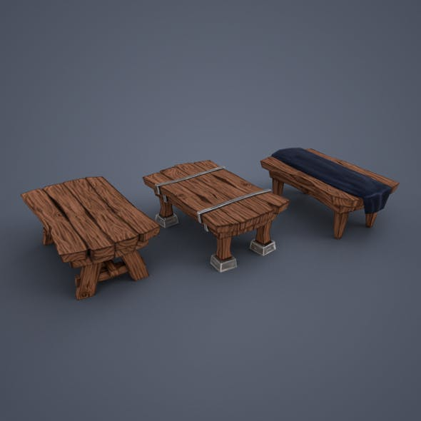 Tables (low poly) - 3DOcean Item for Sale