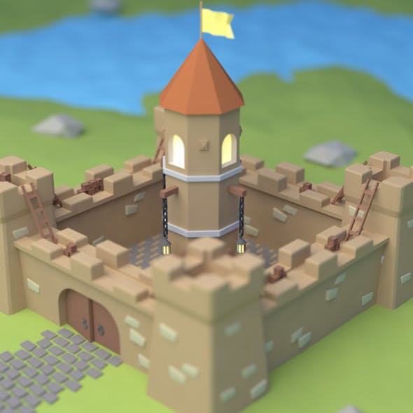 Castle low-poly - 3DOcean Item for Sale