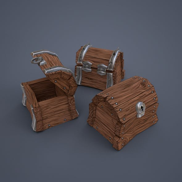 Wooden chests (low poly)